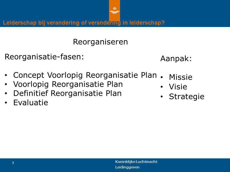Koninklijke Luchtmacht 4 Leidinggeven Leiderschap bij verandering of verandering in leiderschap.