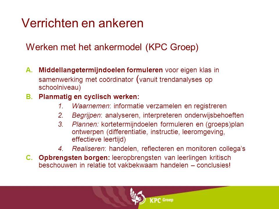 Verrichten en ankeren Werken met het ankermodel (KPC Groep) A.Middellangetermijndoelen formuleren voor eigen klas in samenwerking met coördinator ( va