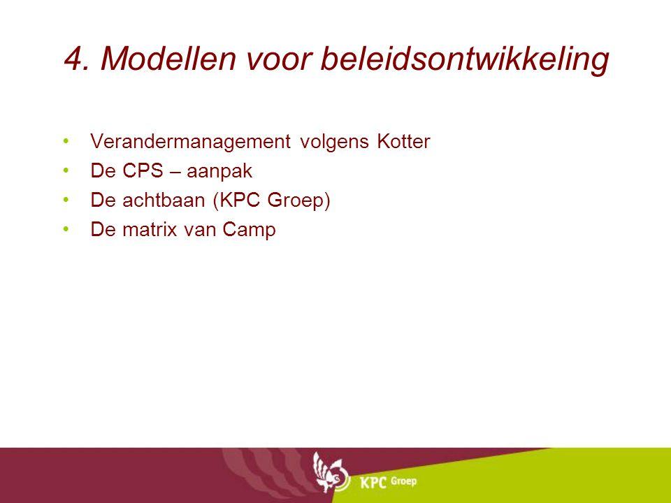 4. Modellen voor beleidsontwikkeling Verandermanagement volgens Kotter De CPS – aanpak De achtbaan (KPC Groep) De matrix van Camp