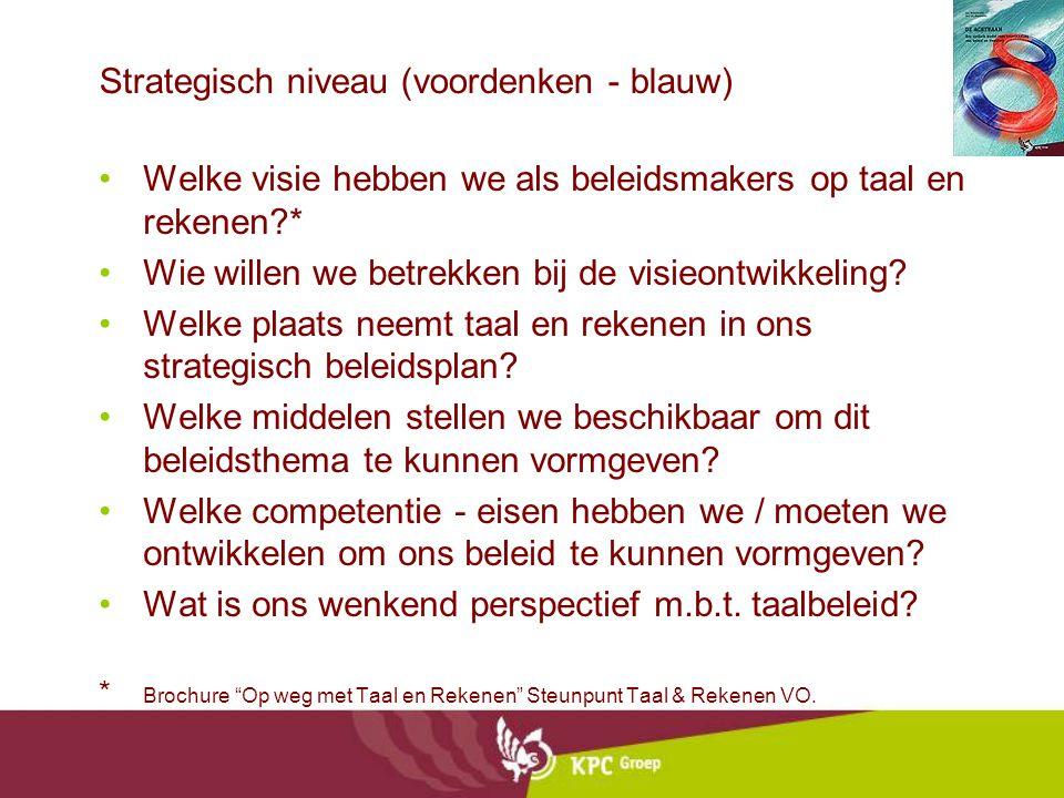 Strategisch niveau (voordenken - blauw) Welke visie hebben we als beleidsmakers op taal en rekenen?* Wie willen we betrekken bij de visieontwikkeling?
