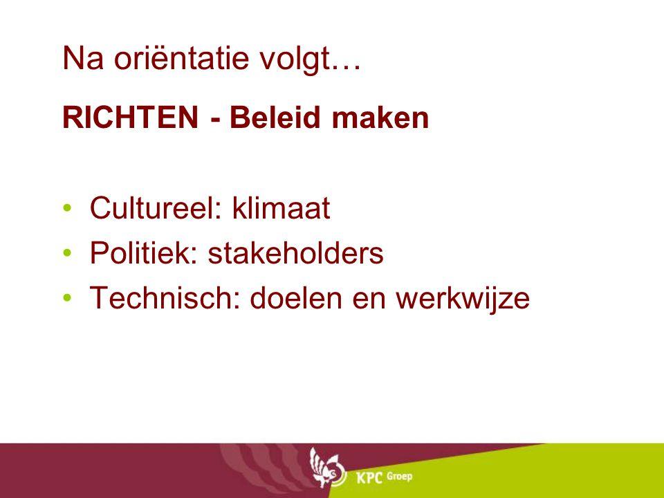 Na oriëntatie volgt… RICHTEN - Beleid maken Cultureel: klimaat Politiek: stakeholders Technisch: doelen en werkwijze