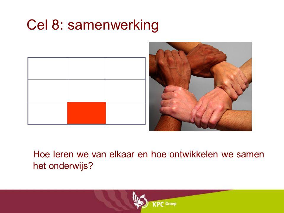 Cel 8: samenwerking Hoe leren we van elkaar en hoe ontwikkelen we samen het onderwijs?