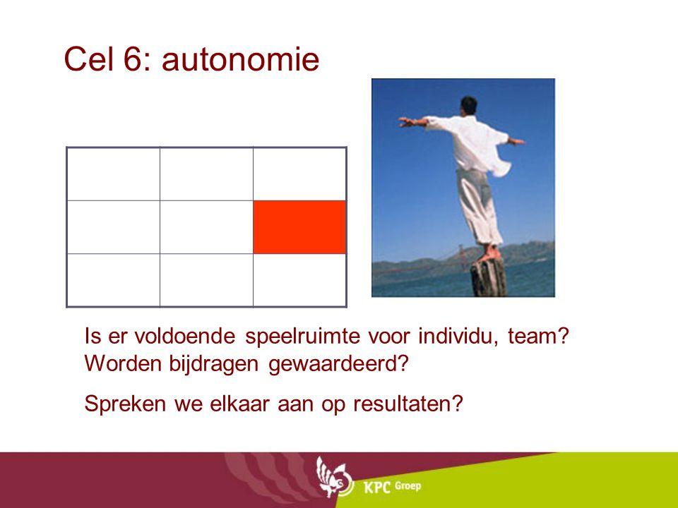 Cel 6: autonomie Is er voldoende speelruimte voor individu, team? Worden bijdragen gewaardeerd? Spreken we elkaar aan op resultaten?