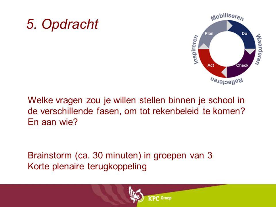 5. Opdracht Welke vragen zou je willen stellen binnen je school in de verschillende fasen, om tot rekenbeleid te komen? En aan wie? Brainstorm (ca. 30