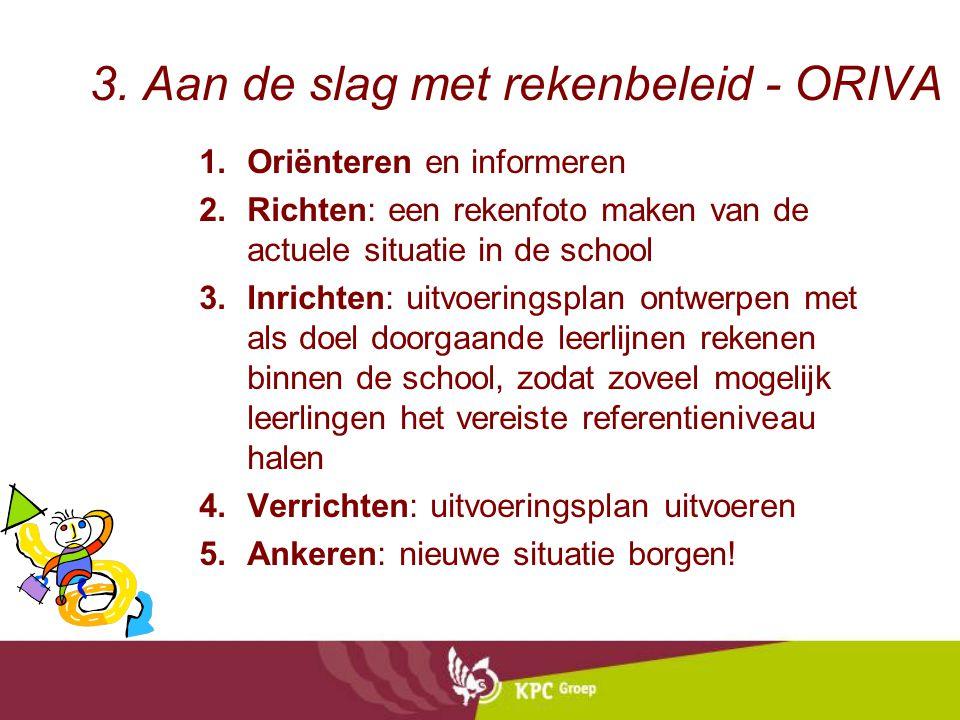 3. Aan de slag met rekenbeleid - ORIVA 1.Oriënteren en informeren 2.Richten: een rekenfoto maken van de actuele situatie in de school 3.Inrichten: uit