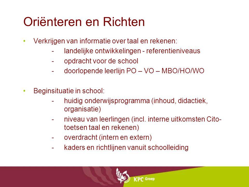 Oriënteren en Richten Verkrijgen van informatie over taal en rekenen: -landelijke ontwikkelingen - referentieniveaus -opdracht voor de school -doorlop