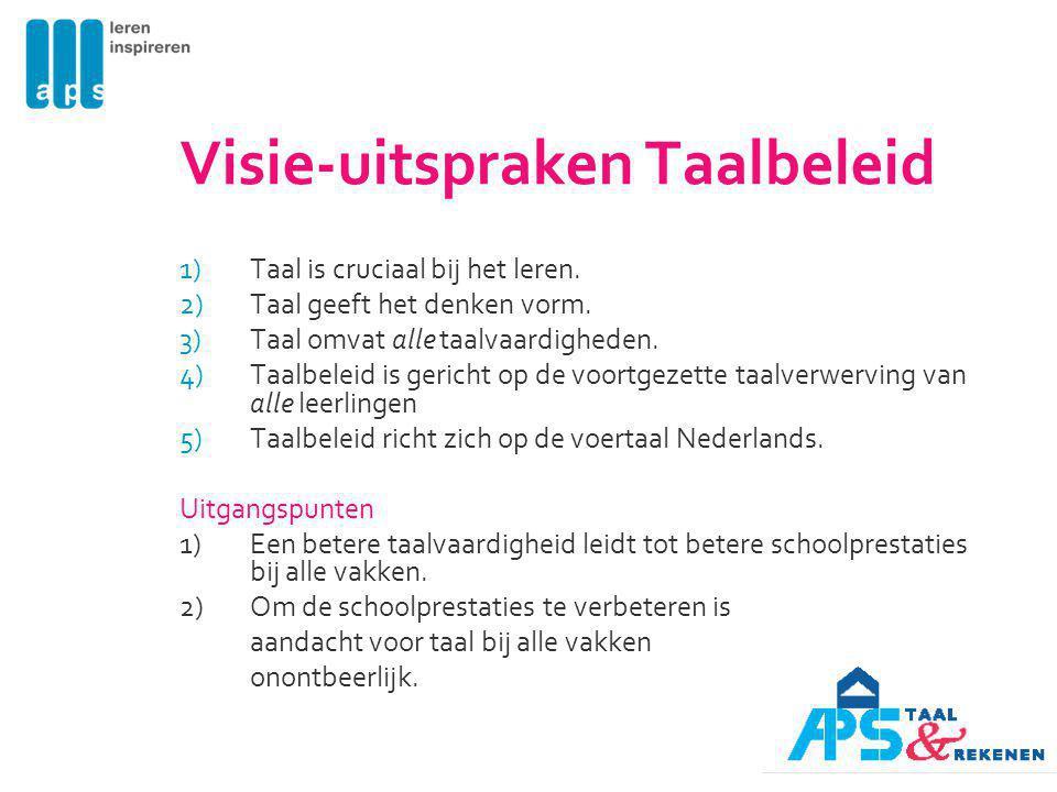 Visie-uitspraken Taalbeleid 1)Taal is cruciaal bij het leren. 2)Taal geeft het denken vorm. 3)Taal omvat alle taalvaardigheden. 4)Taalbeleid is gerich