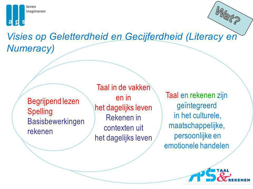 Taal en rekenen zijn geïntegreerd in het culturele, maatschappelijke, persoonlijke en emotionele handelen Begrijpend lezen Spelling Basisbewerkingen r