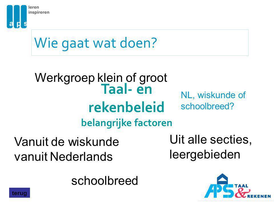 Wie gaat wat doen? Werkgroep klein of groot Uit alle secties, leergebieden Vanuit de wiskunde vanuit Nederlands schoolbreed Taal- en rekenbeleid belan