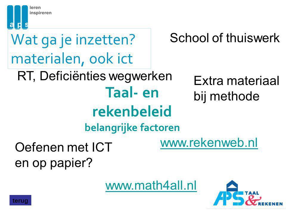 Wat ga je inzetten? materialen, ook ict terug Oefenen met ICT en op papier? www.rekenweb.nl School of thuiswerk RT, Deficiënties wegwerken www.math4al