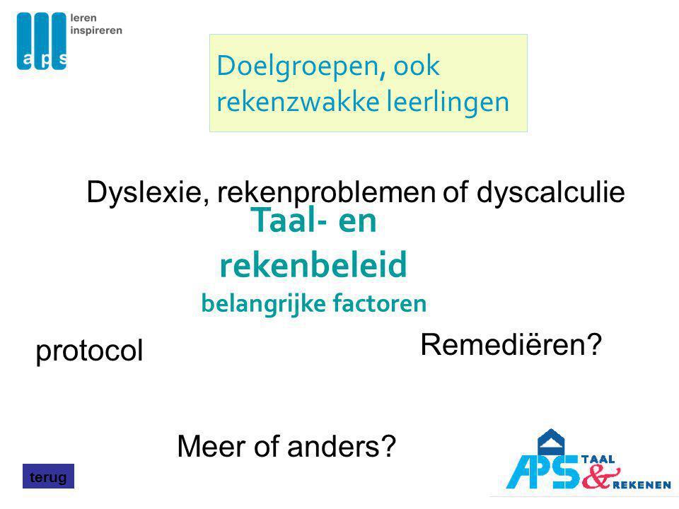 terug Dyslexie, rekenproblemen of dyscalculie Remediëren? protocol Meer of anders? Doelgroepen, ook rekenzwakke leerlingen Taal- en rekenbeleid belang