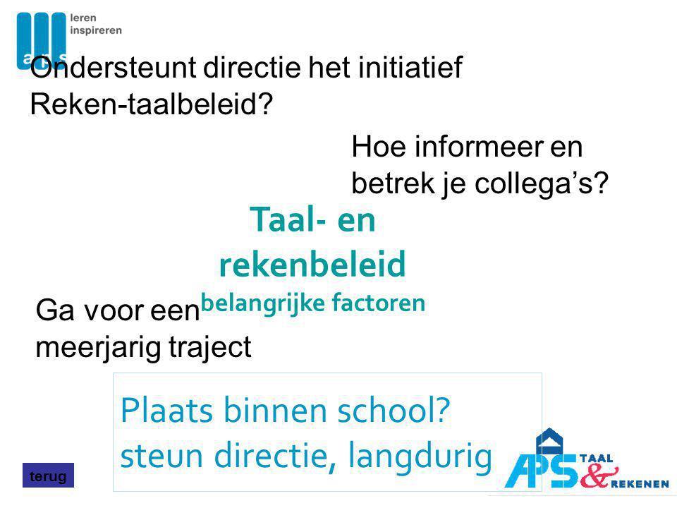 Plaats binnen school? steun directie, langdurig terug Ondersteunt directie het initiatief Reken-taalbeleid? Hoe informeer en betrek je collega's? Ga v