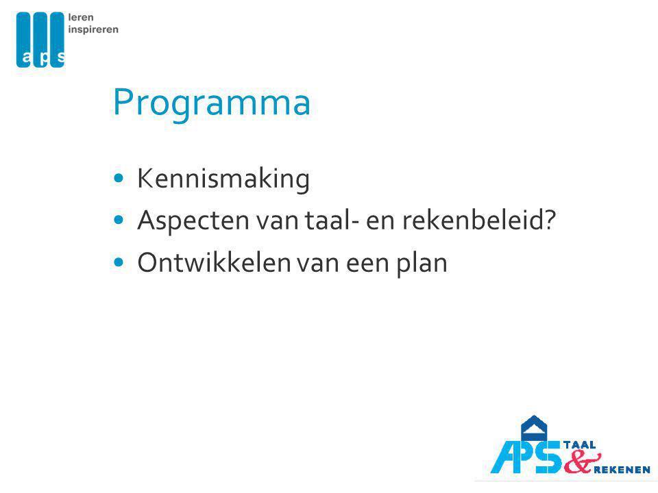 Programma Kennismaking Aspecten van taal- en rekenbeleid? Ontwikkelen van een plan
