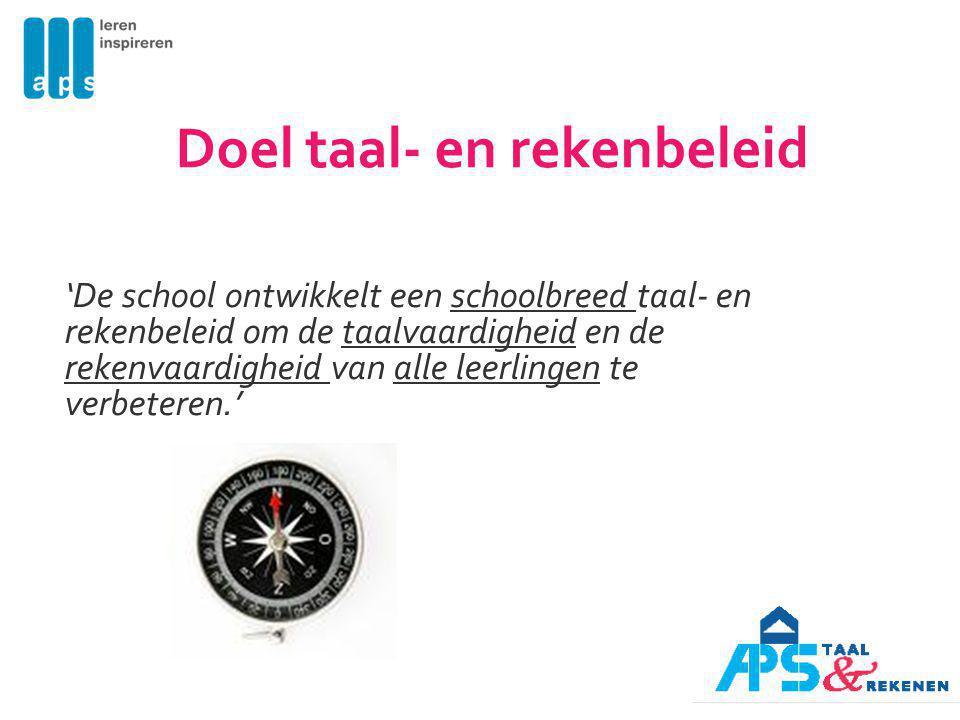 Doel taal- en rekenbeleid 'De school ontwikkelt een schoolbreed taal- en rekenbeleid om de taalvaardigheid en de rekenvaardigheid van alle leerlingen