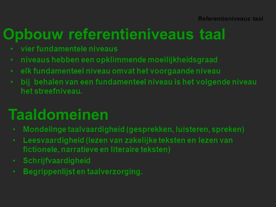 Referentieniveaus taal Mondelinge taalvaardigheid (gesprekken, luisteren, spreken) Leesvaardigheid (lezen van zakelijke teksten en lezen van fictionel