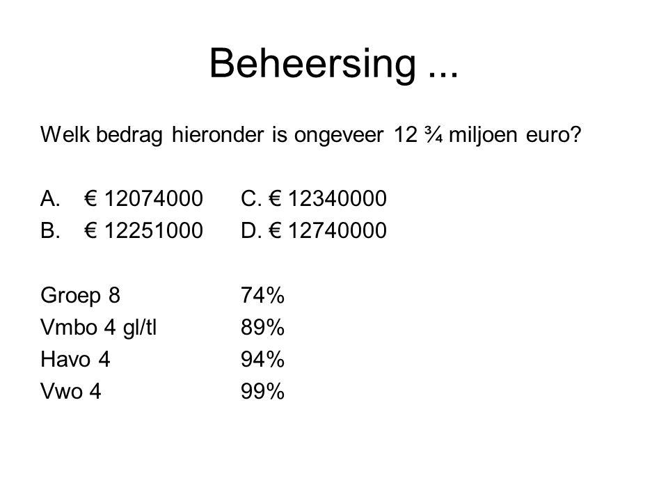 Beheersing... Welk bedrag hieronder is ongeveer 12 ¾ miljoen euro? A.€ 12074000C. € 12340000 B.€ 12251000D. € 12740000 Groep 874% Vmbo 4 gl/tl89% Havo