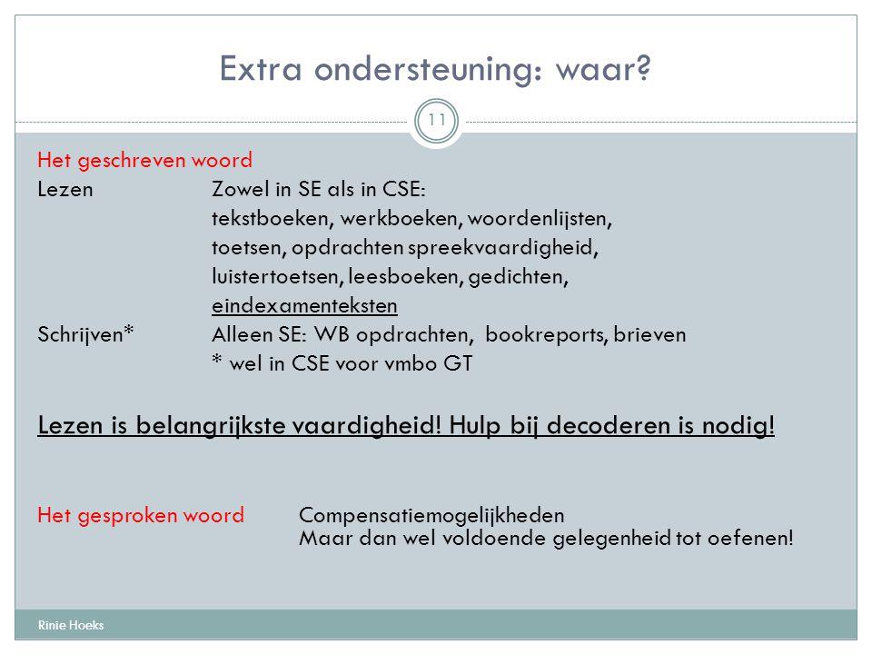 Extra ondersteuning: waar? Rinie Hoeks 11 Het geschreven woord Lezen Zowel in SE als in CSE: tekstboeken, werkboeken, woordenlijsten, toetsen, opdrach