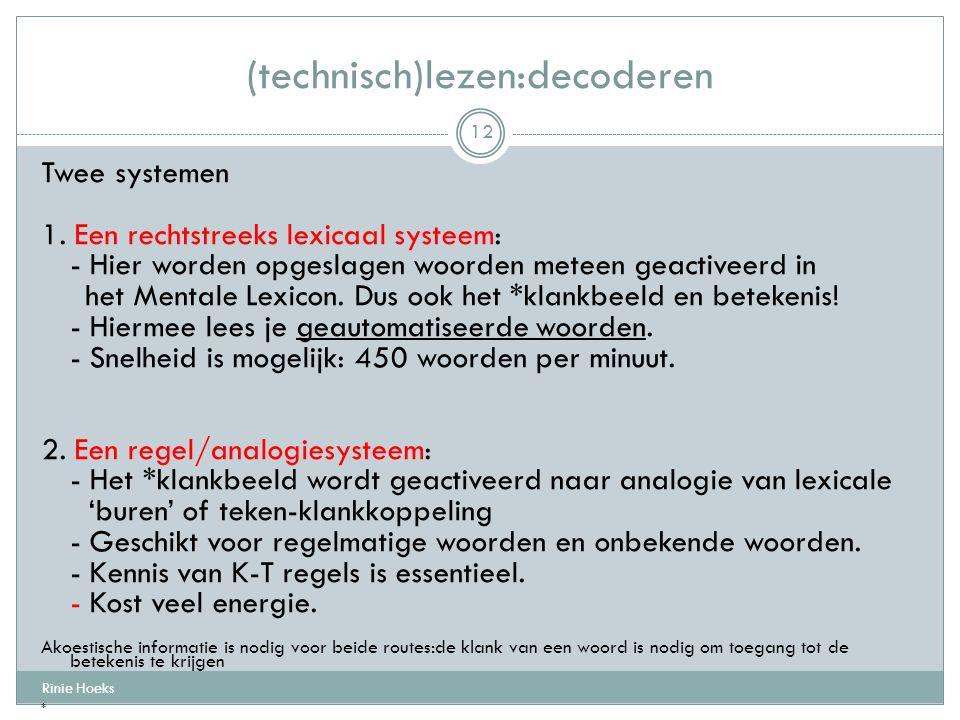 Twee systemen 1. Een rechtstreeks lexicaal systeem: - Hier worden opgeslagen woorden meteen geactiveerd in het Mentale Lexicon. Dus ook het *klankbeel