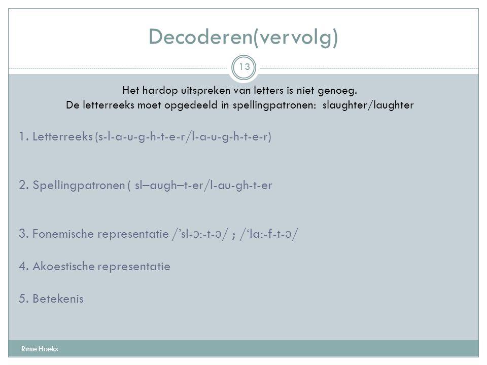 Decoderen(vervolg) Rinie Hoeks 13 Het hardop uitspreken van letters is niet genoeg. De letterreeks moet opgedeeld in spellingpatronen: slaughter/laugh