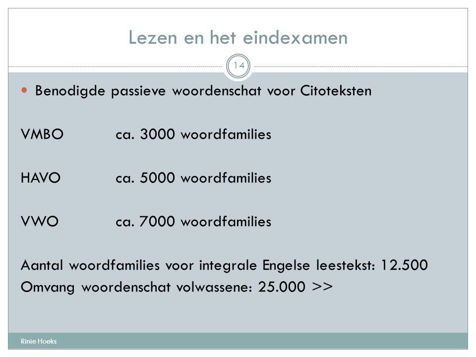 Lezen en het eindexamen Rinie Hoeks 14 Benodigde passieve woordenschat voor Citoteksten VMBOca. 3000 woordfamilies HAVOca. 5000 woordfamilies VWOca. 7