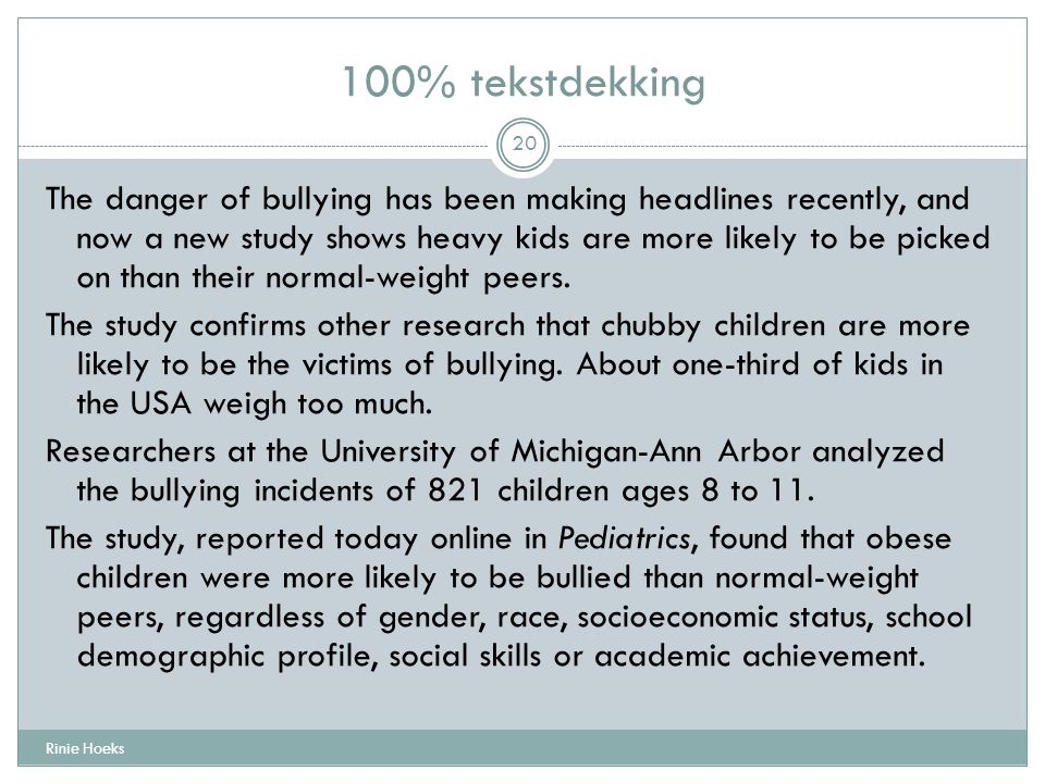 The danger of bullying has been making headlines recently, and now a new study shows heavy kids are more likely to be picked on than their normal-weig