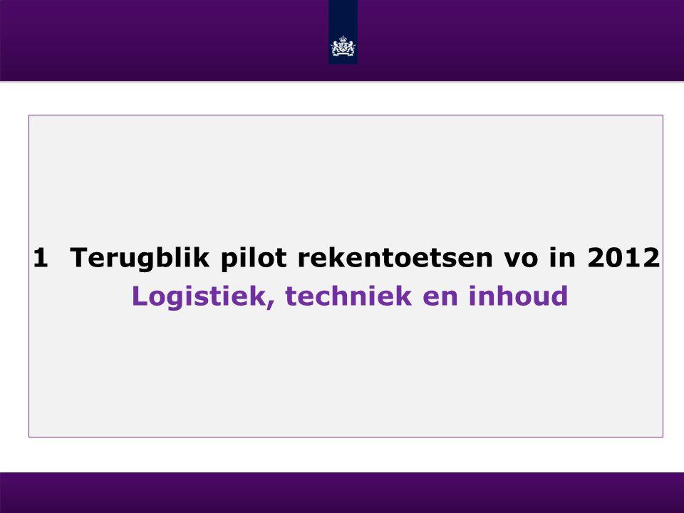 1Terugblik pilot rekentoetsen vo in 2012 Logistiek, techniek en inhoud