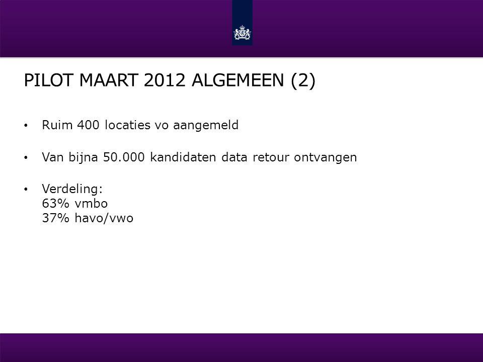 PILOT MAART 2012 ALGEMEEN (2) Ruim 400 locaties vo aangemeld Van bijna 50.000 kandidaten data retour ontvangen Verdeling: 63% vmbo 37% havo/vwo