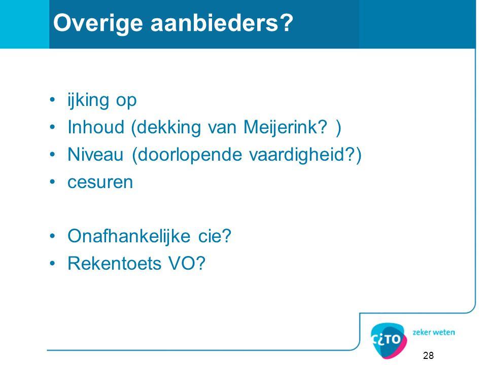 28 Overige aanbieders.ijking op Inhoud (dekking van Meijerink.