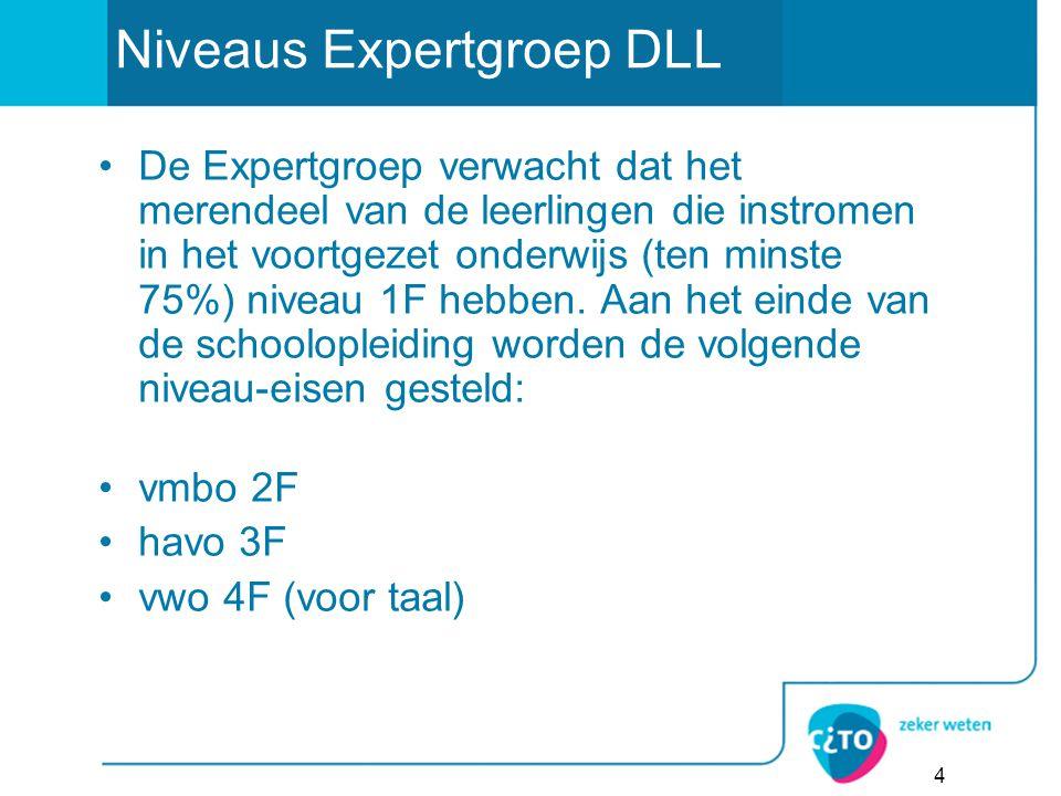 4 Niveaus Expertgroep DLL De Expertgroep verwacht dat het merendeel van de leerlingen die instromen in het voortgezet onderwijs (ten minste 75%) niveau 1F hebben.