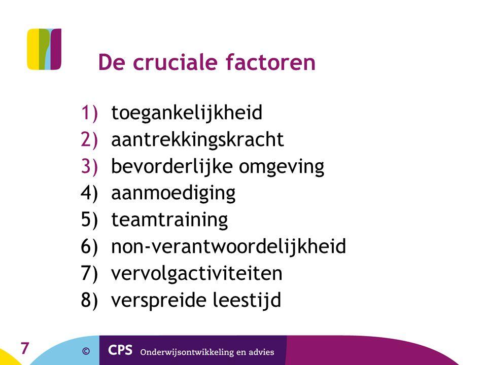 7 De cruciale factoren 1)toegankelijkheid 2)aantrekkingskracht 3)bevorderlijke omgeving 4) aanmoediging 5) teamtraining 6) non-verantwoordelijkheid 7) vervolgactiviteiten 8) verspreide leestijd