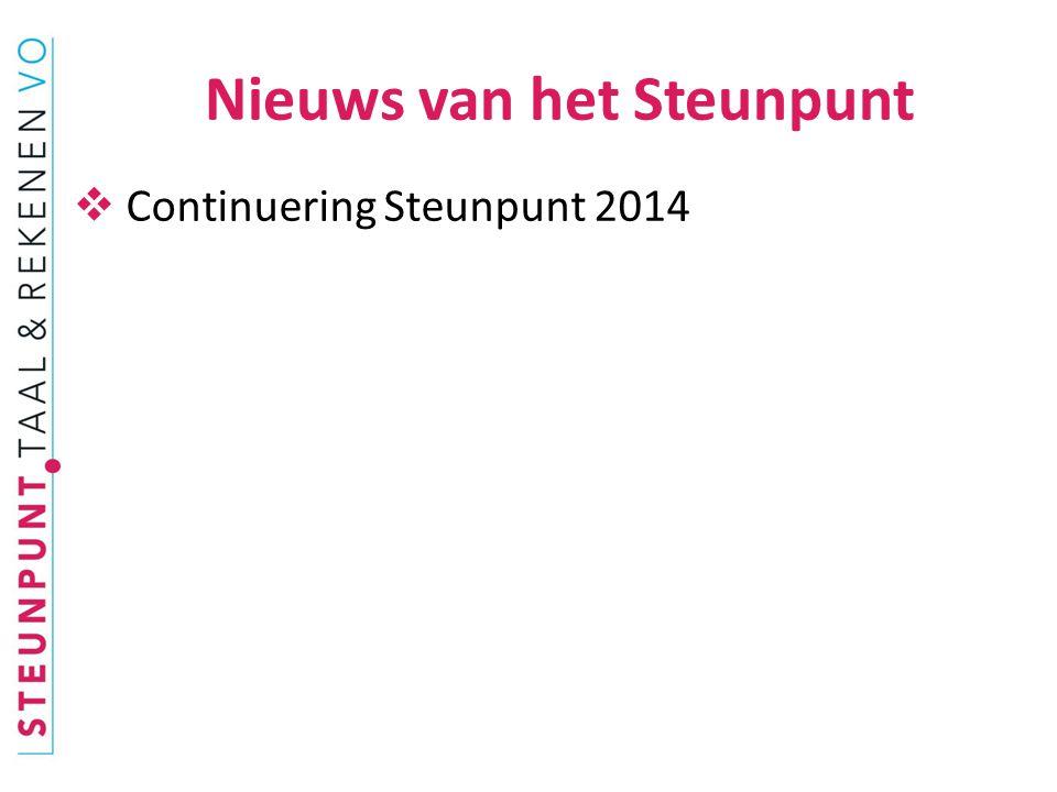  Continuering Steunpunt 2014 Nieuws van het Steunpunt