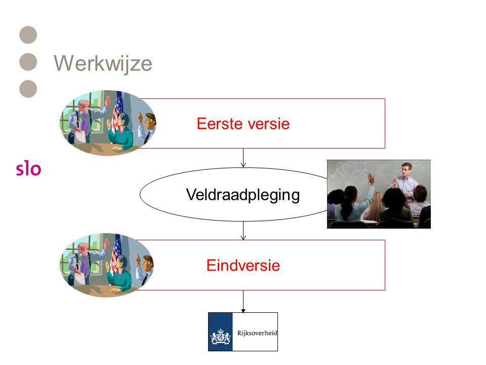 Werkwijze Eerste versie Eindversie Veldraadpleging