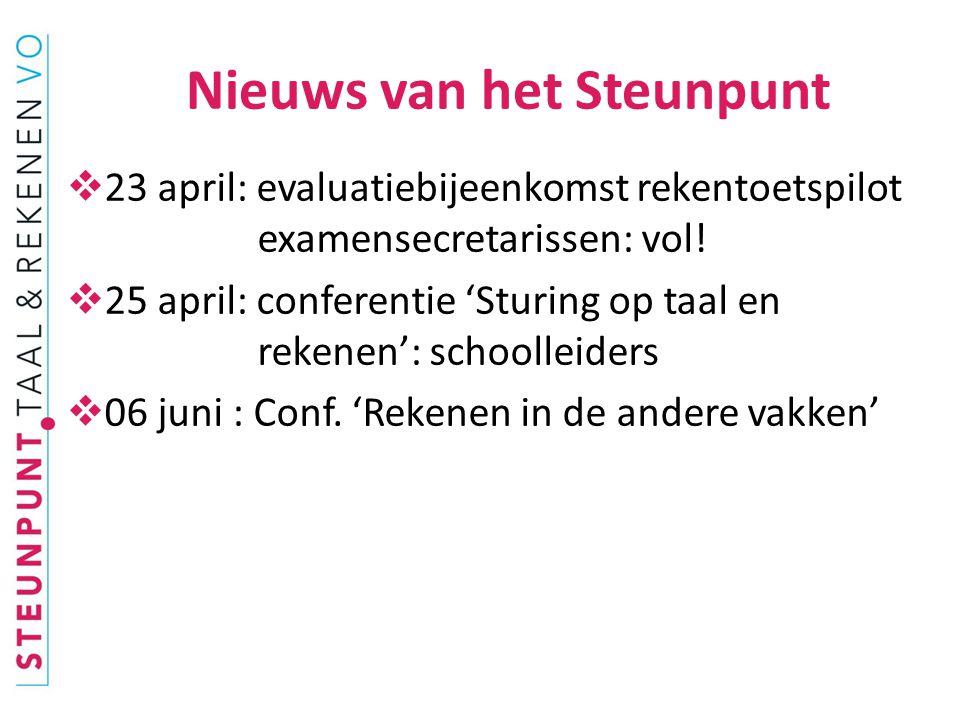  Landelijke resultaten pilotrekentoets: juni  Wetsontwerp diagnostische tussentijdse toets eind onderbouw vo: 2015.
