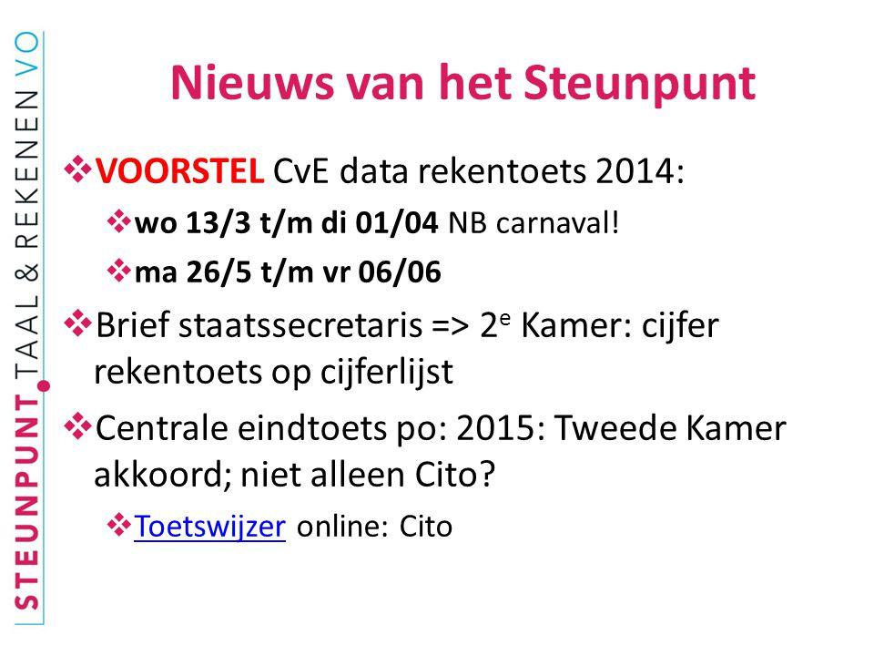  VOORSTEL CvE data rekentoets 2014:  wo 13/3 t/m di 01/04 NB carnaval.