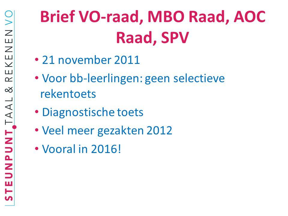Brief VO-raad, MBO Raad, AOC Raad, SPV 21 november 2011 Voor bb-leerlingen: geen selectieve rekentoets Diagnostische toets Veel meer gezakten 2012 Vooral in 2016!