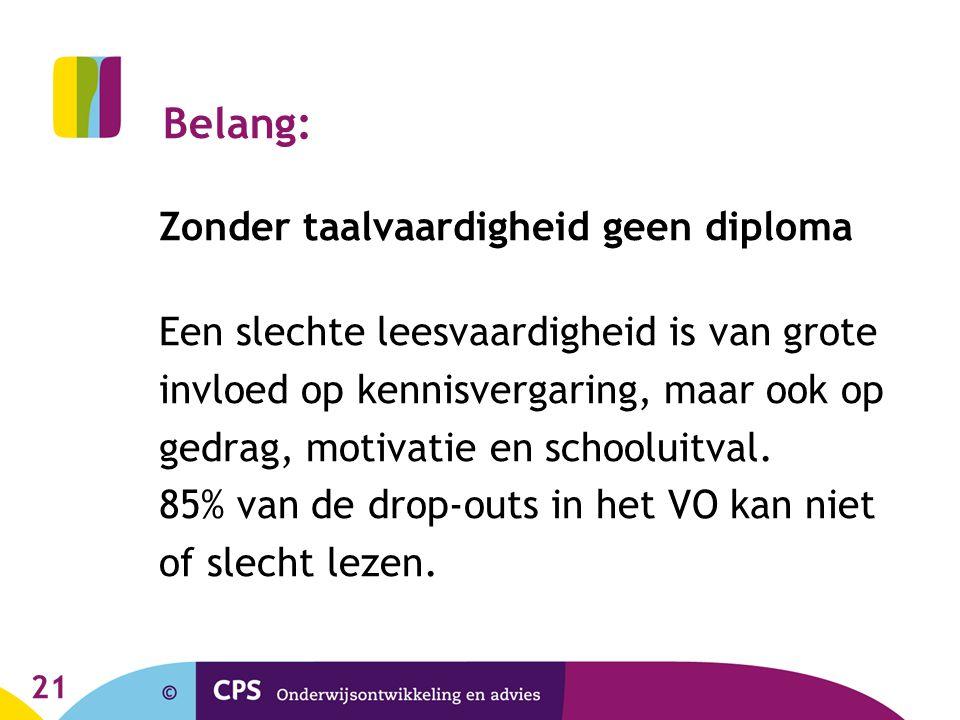 21 Belang: Zonder taalvaardigheid geen diploma Een slechte leesvaardigheid is van grote invloed op kennisvergaring, maar ook op gedrag, motivatie en s
