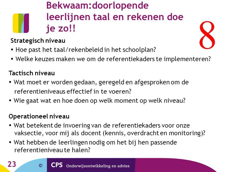 23 Bekwaam:doorlopende leerlijnen taal en rekenen doe je zo!! Strategisch niveau  Hoe past het taal/rekenbeleid in het schoolplan?  Welke keuzes mak