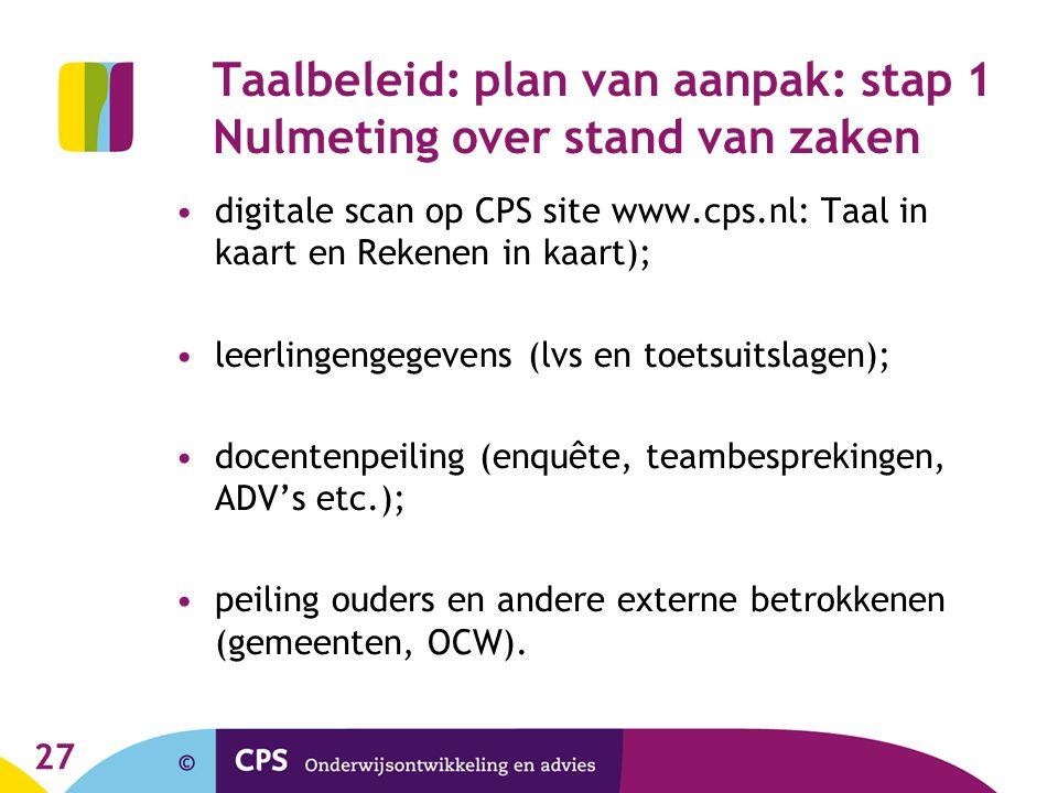 27 Taalbeleid: plan van aanpak: stap 1 Nulmeting over stand van zaken digitale scan op CPS site www.cps.nl: Taal in kaart en Rekenen in kaart); leerli
