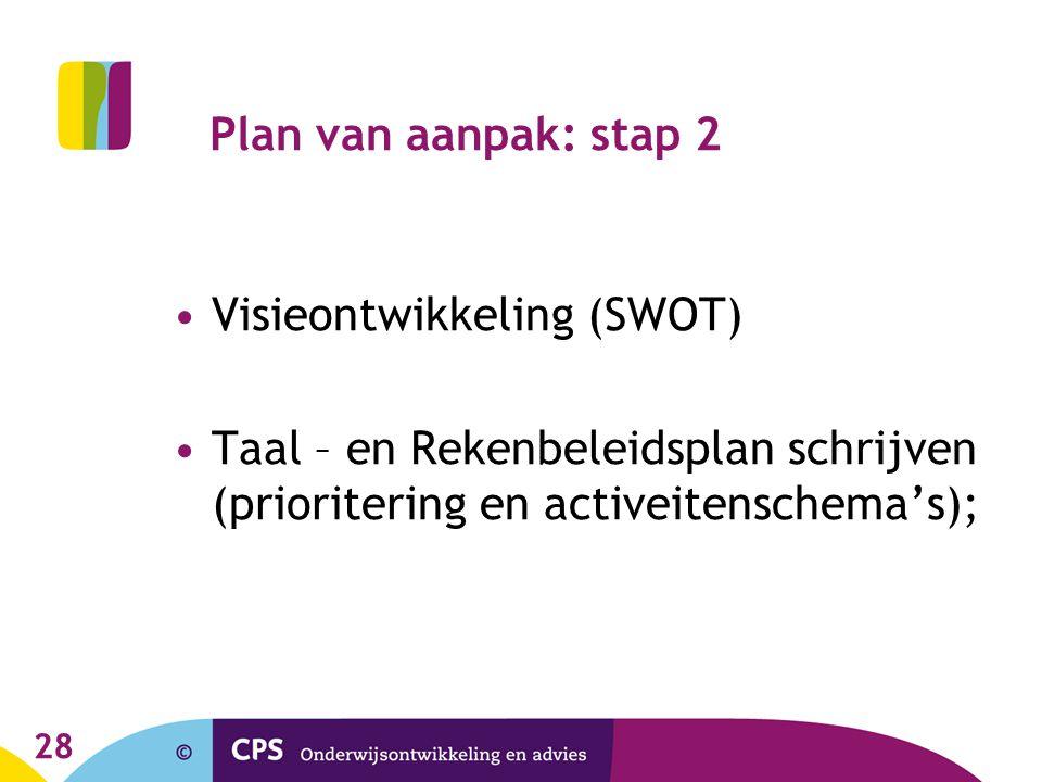28 Plan van aanpak: stap 2 Visieontwikkeling (SWOT) Taal – en Rekenbeleidsplan schrijven (prioritering en activeitenschema's);