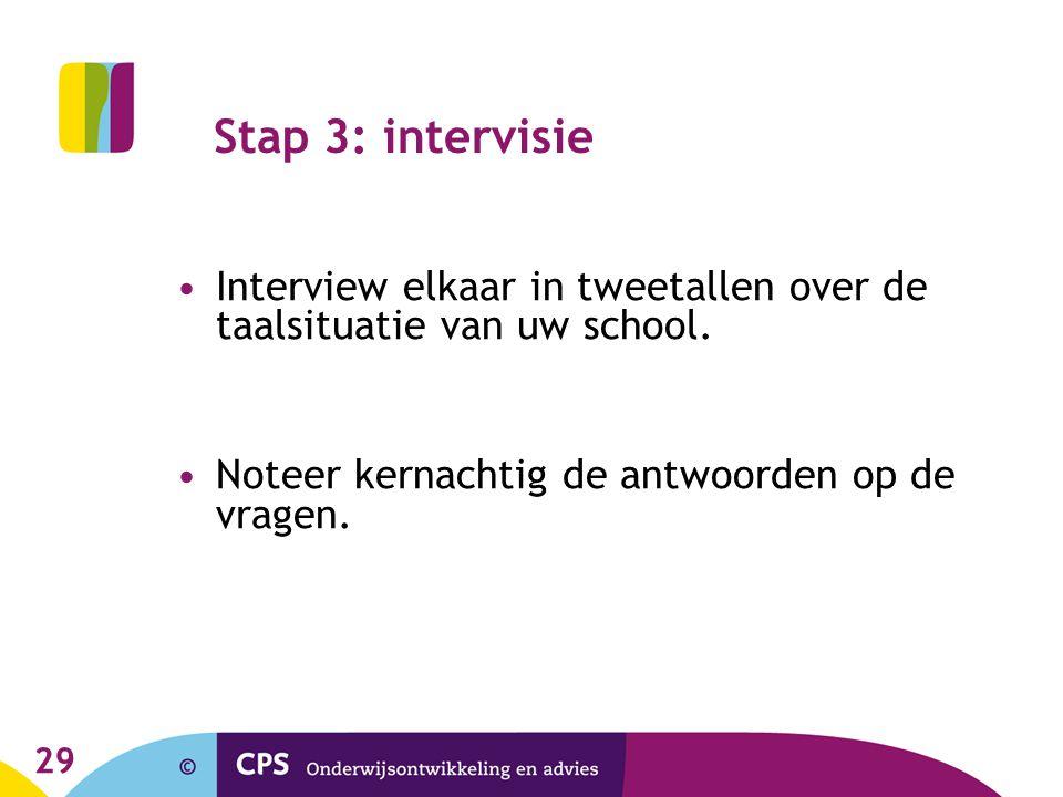 29 Stap 3: intervisie Interview elkaar in tweetallen over de taalsituatie van uw school. Noteer kernachtig de antwoorden op de vragen.