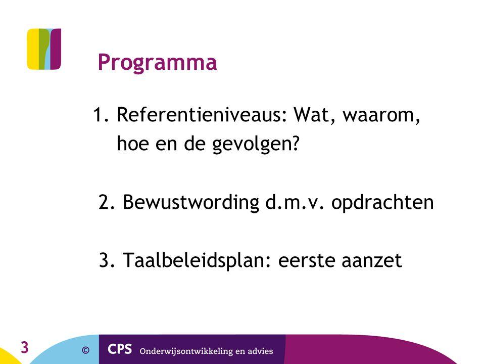 3 Programma 1. Referentieniveaus: Wat, waarom, hoe en de gevolgen? 2. Bewustwording d.m.v. opdrachten 3. Taalbeleidsplan: eerste aanzet
