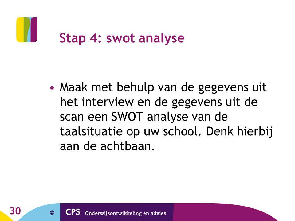 30 Stap 4: swot analyse Maak met behulp van de gegevens uit het interview en de gegevens uit de scan een SWOT analyse van de taalsituatie op uw school