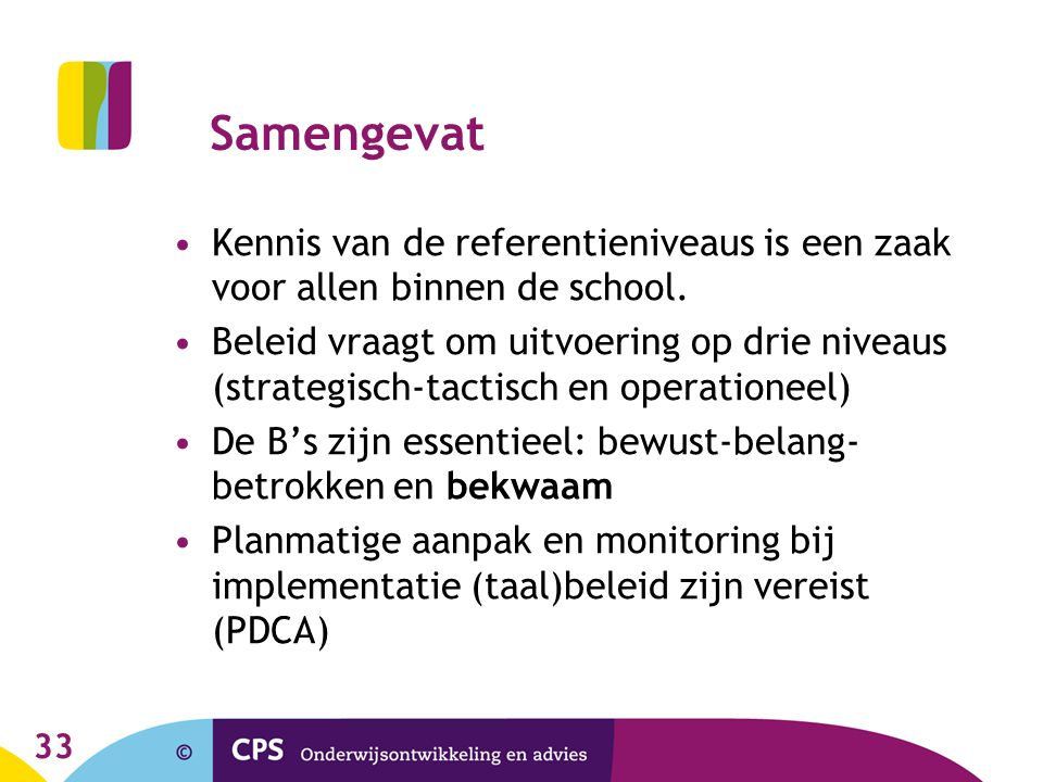 33 Samengevat Kennis van de referentieniveaus is een zaak voor allen binnen de school. Beleid vraagt om uitvoering op drie niveaus (strategisch-tactis