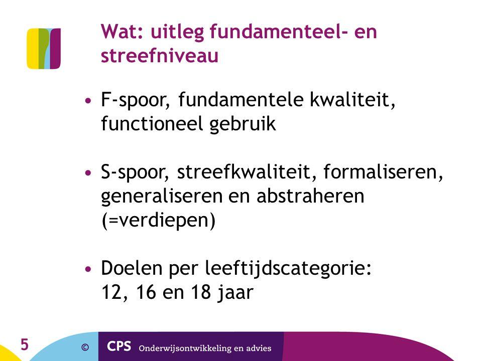 5 F-spoor, fundamentele kwaliteit, functioneel gebruik S-spoor, streefkwaliteit, formaliseren, generaliseren en abstraheren (=verdiepen) Doelen per le