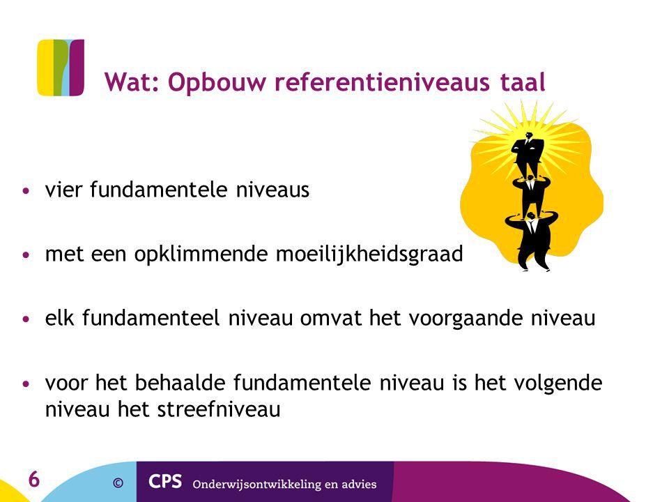 6 Wat: Opbouw referentieniveaus taal vier fundamentele niveaus met een opklimmende moeilijkheidsgraad elk fundamenteel niveau omvat het voorgaande niv