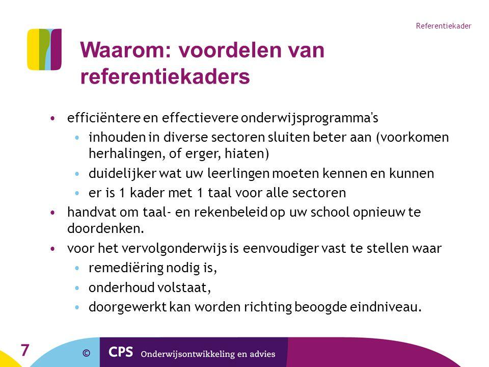 7 Referentiekader efficiëntere en effectievere onderwijsprogramma's inhouden in diverse sectoren sluiten beter aan (voorkomen herhalingen, of erger, h