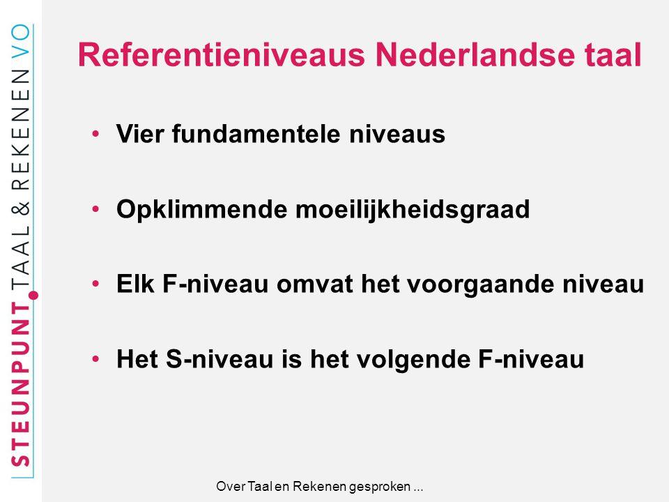 Referentieniveaus Nederlandse taal Vier fundamentele niveaus Opklimmende moeilijkheidsgraad Elk F-niveau omvat het voorgaande niveau Het S-niveau is h