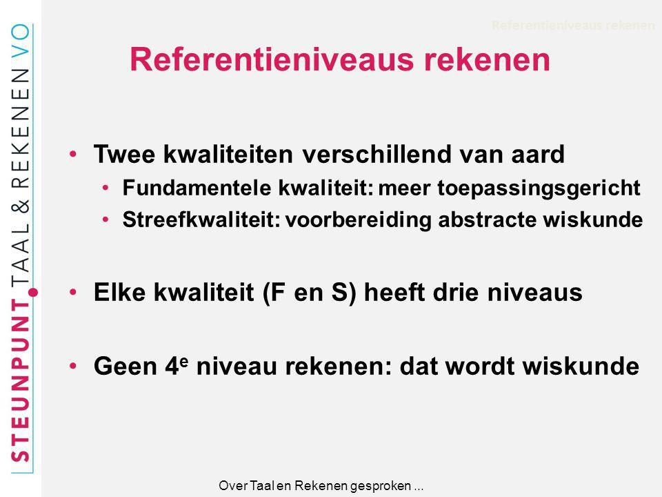 Referentieniveaus rekenen Twee kwaliteiten verschillend van aard Fundamentele kwaliteit: meer toepassingsgericht Streefkwaliteit: voorbereiding abstra