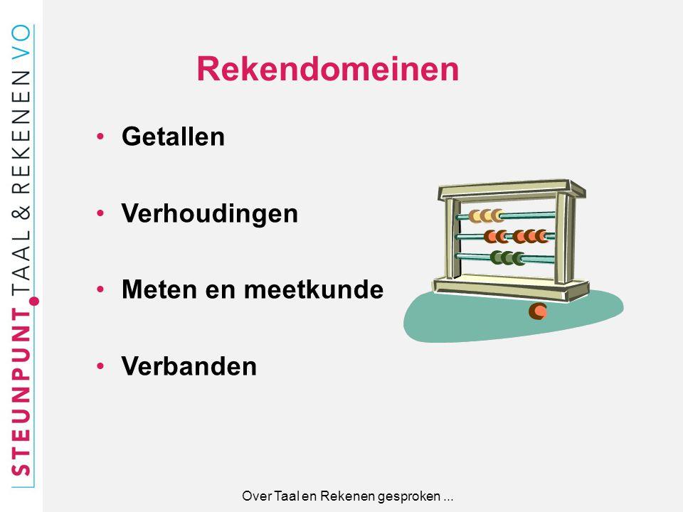 Rekendomeinen Getallen Verhoudingen Meten en meetkunde Verbanden Over Taal en Rekenen gesproken...