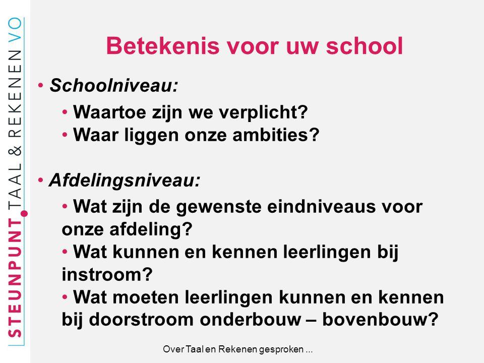 Betekenis voor uw school Over Taal en Rekenen gesproken... Schoolniveau: Waartoe zijn we verplicht? Waar liggen onze ambities? Afdelingsniveau: Wat zi